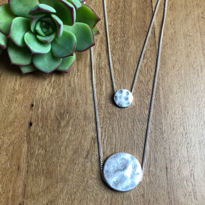 Silver hammered pendant | Double | Tiger Tree