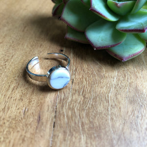 Howlite ring in silver | Adjustable | TigerTree | AfterPay