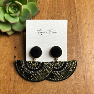 Statement fan drop earring in black and khaki | AfterPay | Tiger Tree