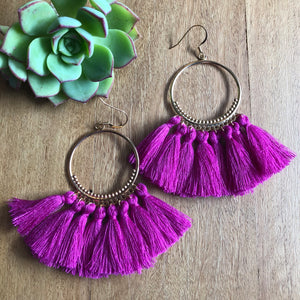 Circle Hoop Tassel Earrings in Magenta | Ora by JW