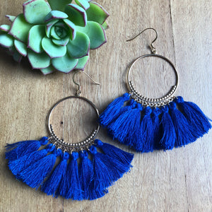 Navy tassel earrings - afterpay