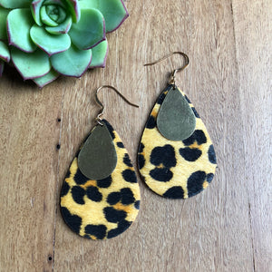 Tear drop statement earrings | Leopard | Ora by JW