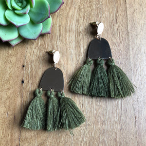 Tassel drop earrings | khaki | Ora by JW