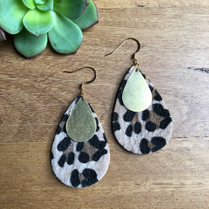 Tear drop statement earrings | Leopard and Gold | Ora by JW