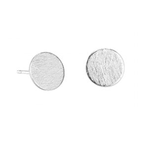 Brushed circle stud earring | Silver | Tiger Tree