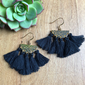 Black tassel earrings - after pay - free shipping