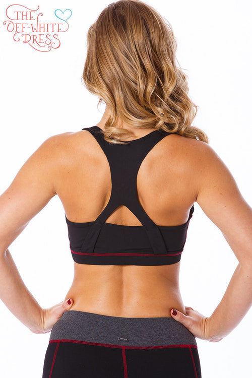 Burgundy Trim Sports Bra