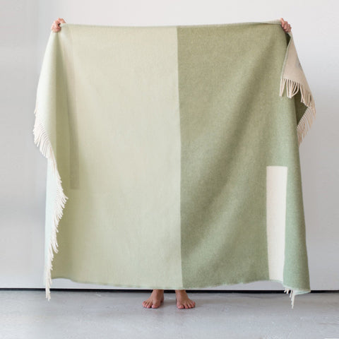 Forestry Lambs Wool Blanket - Sage Green