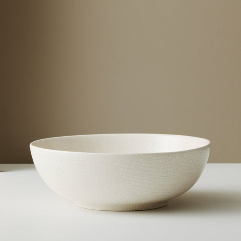Large Ceramic Bowl - Bone Crackle