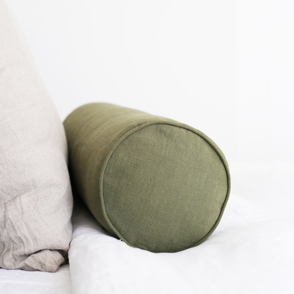 olive-linen-bolster-cushion-homeware