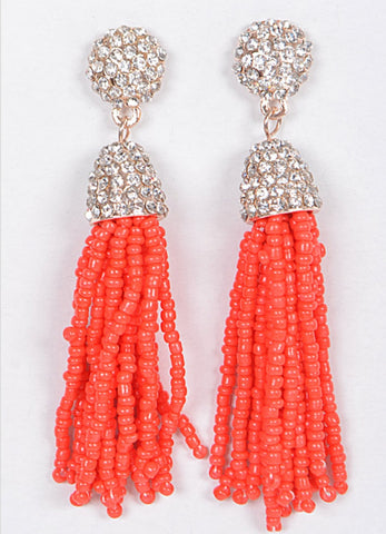 Beaded Crystal Tassel Earrings