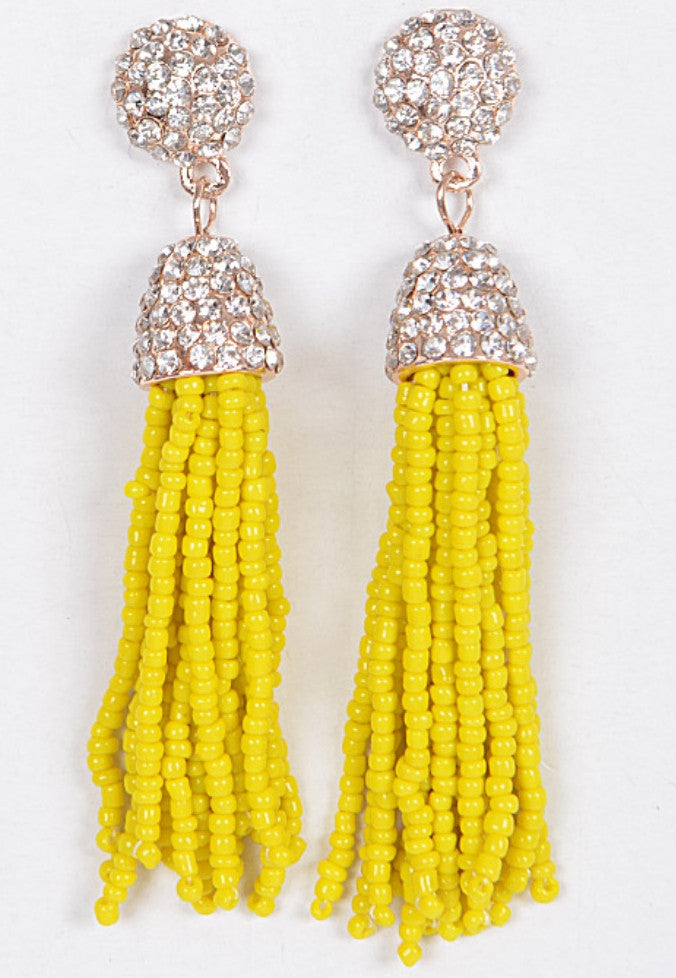 Party Crystal Tassel Earrings (Avaliable in other colors)