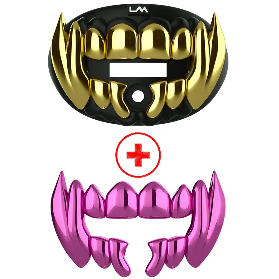 3D CHROME BEAST - Black & Gold - W/ Extra Pink Beast Teeth