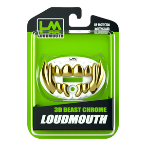 Loudmouth Football Mouth Guard | 3D Beast Adult and Youth Mouth Guard | White and Gold Mouth Piece for Sports | Maximum Air Flow Mouth Guards | Pacifier Lip and Teeth Protector