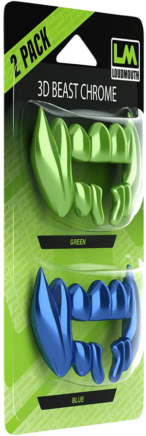 3D CHROME BEAST - Interchangeable Teeth - 2 Piece - Blue & Green