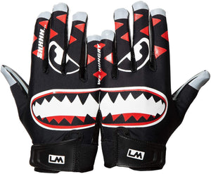 Loudmouth Baby Savage Football Gloves - Adult & Youth Sizes | Ultra Grip Silicone Palm | Adult & Youth Football Gloves-Black