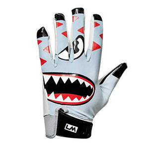 Loudmouth Baby Savage Football Gloves - Adult & Youth Sizes | Ultra Grip Silicone Palm | Adult & Youth Football Gloves-Grey