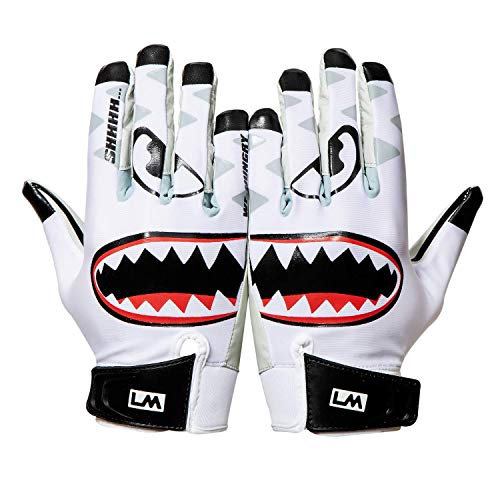 Loudmouth Baby Savage Football Gloves - Adult & Youth Sizes | Ultra Grip Silicone Palm |  Adult & Youth Football Gloves-White
