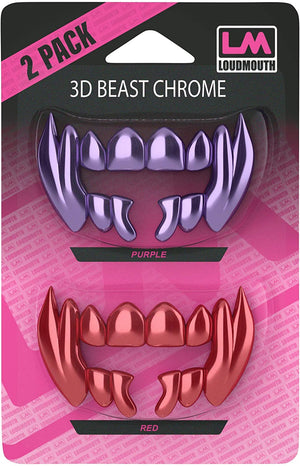 3D CHROME BEAST - Interchangeable Teeth - 2 Piece - Red & Purple