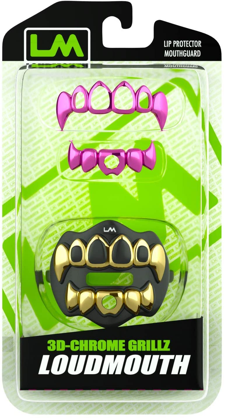 3D CHROME GRILLZ - Gold & Black - W/ Extra Pink Grillz