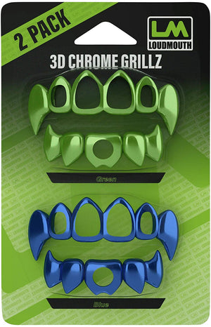 3D CHROME GRILLZ - Interchangeable Teeth - 2 Piece - Blue & Green