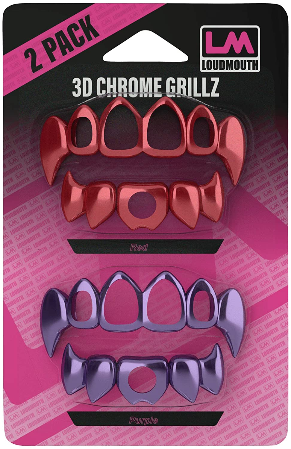 3D CHROME GRILLZ - Interchangeable Teeth - 2 Piece - Red & Purple