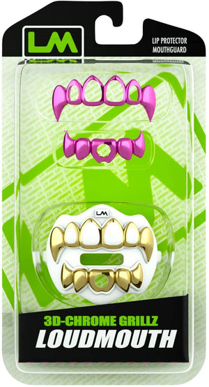 3D CHROME GRILLZ - Gold & White - W/ Extra Pink Grillz