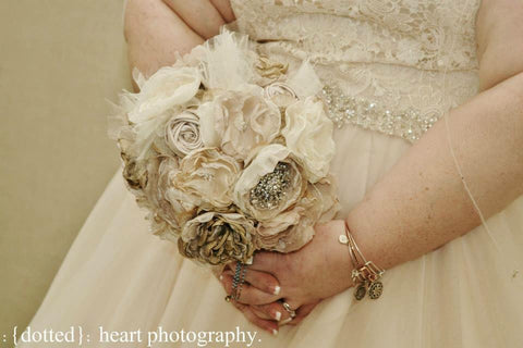 beige and gold champagne bridal bouquet by burlap and bling design studio