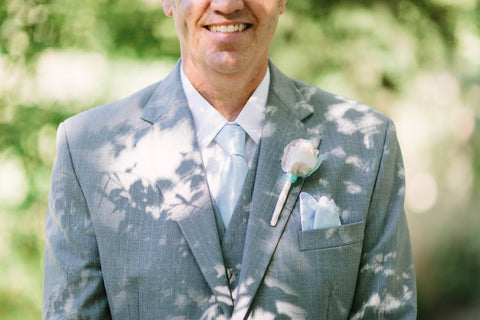 groom  fabric boutonniere by burlap and bling design studio
