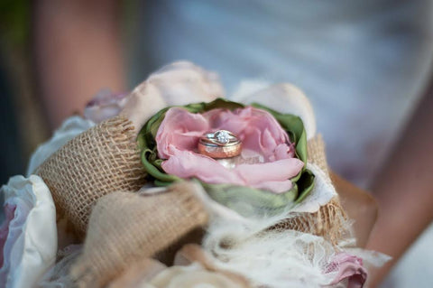 burlap and dusty rose bridal bouquet by burlap and bling design studio