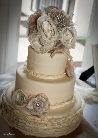 fabric wedding cake flowers by burlap and bling design studio