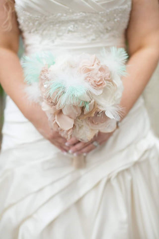 mint green bridal bouquet burlap and bling design studio