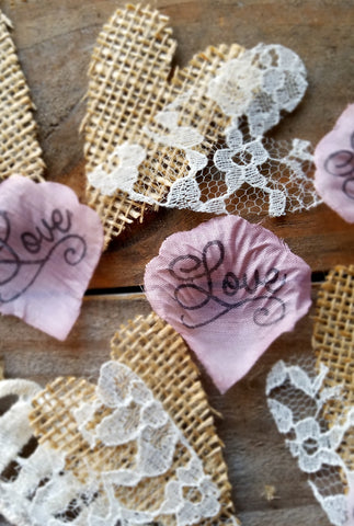 Dusty rose and burlap wedding rose petals