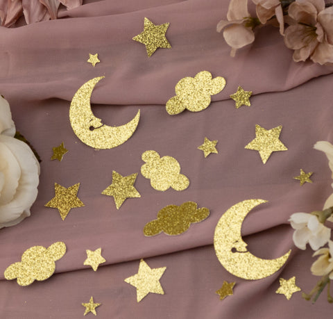 moon and star confetti