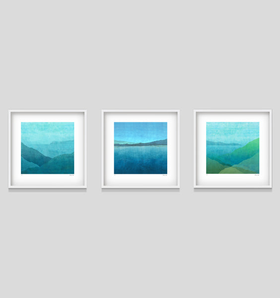 Gradual Harbour - in white 52cm square shadow box frame