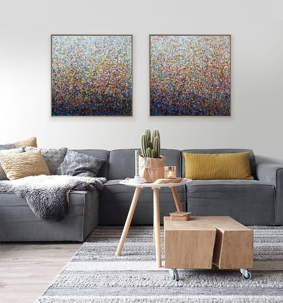 Australian Dance Framed - Diptych- 69cm squ- acrylic painting on canvas