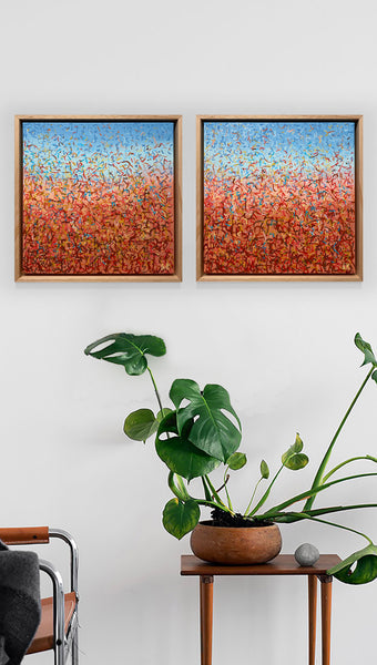 Oondiri Dancers Diptych Framed- 33 squ each- acrylic painting on canvas