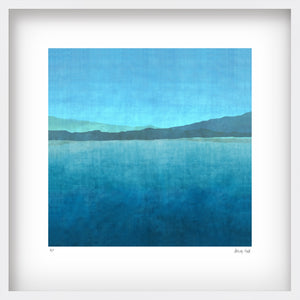 Gradual Lake - in white 52cm square shadow box frame