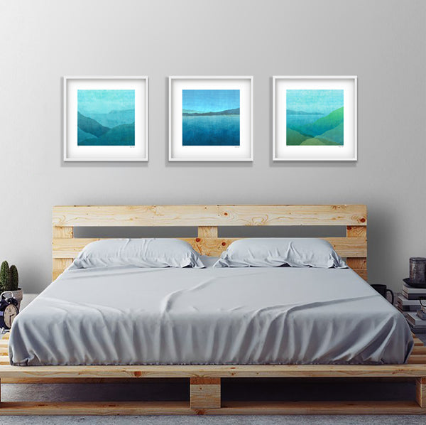 Gradual Night Harbour - in white 52cm square shadow box frame