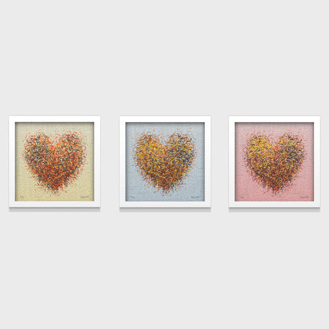 Optimist Heart Series- Set of 3- Small 25 x 25cm