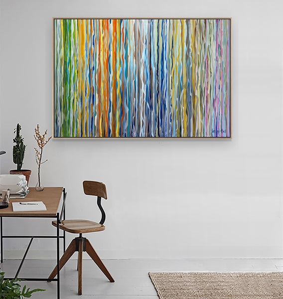 Tiker Tape acrylic painting Framed 140 x 95cm