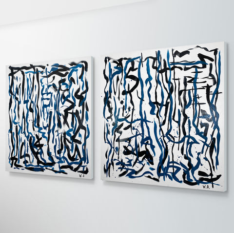 Labyrinth Duo - 92 x 92 cm each - acrylic on canvas