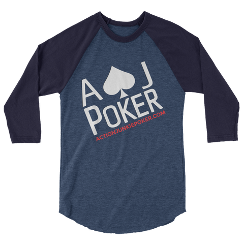 AJPOKER-GEAR Men's Jeresy Raglan LongSleeve Shirt-Black/Blue