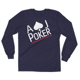 AJPOKER-GEAR Men's Lightweight LongSleeve Shirt-FrontView-Navy
