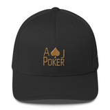 AJPoker Flex-Fit Hat Black with Gold