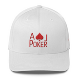 AJPoker Flex-Fit Hat White with Red