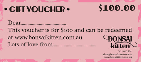 $100 Gift Voucher - Bonsai Kitten retro clothing, pin up clothing
