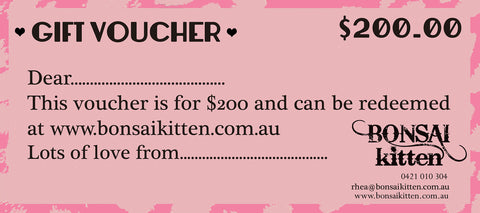 $200 Gift Voucher - Bonsai Kitten retro clothing, pin up clothing