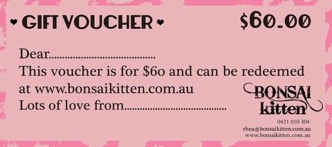 $60 Gift Voucher - Bonsai Kitten retro clothing, pin up clothing
