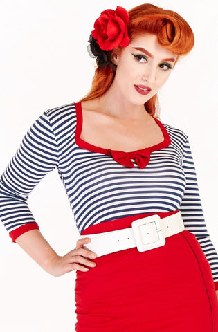 Candy top nautical 3/4 sleeve top - Bonsai Kitten retro clothing, pin up clothing